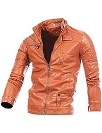 BHYDRY Cappotto Uomo Giacca in Pelle Inverno Motociclista Cerniera Outwear Cappotto  Caldo ab59b617bb0