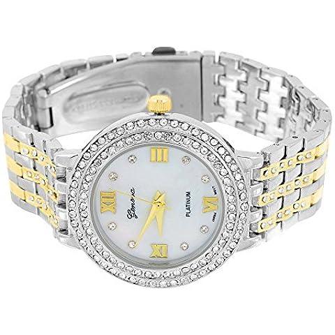 Eligant, 2 tonalità, da donna, modello Geneva vendita &-Orologio con quadrante bianco e oro