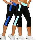 2x 3/4 Legging Femme Pantalons sport fille yoga pilates Capri YOGA slim fit Bicolore,M