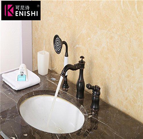 YSRBath Moderne Waschbecken Waschtischarmatur Im antiken Stil Orb Schwarz Voller Kupfer Retro Mischbatterie Bad Küche Wasserhahn Badarmatur