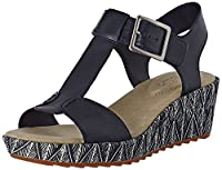 Clarks Women's Kamara Kiki Wedge Heels Sandals, Blue (Navy Leather), 38 UK