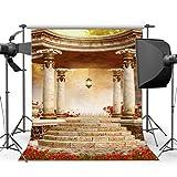 BuEnn 5X7FT Fondale Gotico Retro lussuoso Cerimonia nozze Decorazione Alberi foresta giungla Fiore rosso fresco Vintage Pilastro Padiglione Fotografia Sfondo sposa Studio fotografico Prop