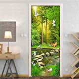 LLHBDA Sentiero del vento attraverso boschi appartati 3D Adesivo per porte Home Decor autoadesivo adesivo rimovibile Porta scorrevole Wallpaper Room Decor,95x215cm