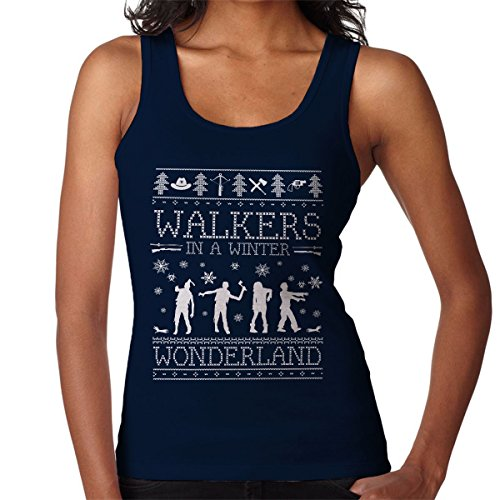 Walkers In A Winter Wonderland Christmas Knit Women's Vest Navy blue