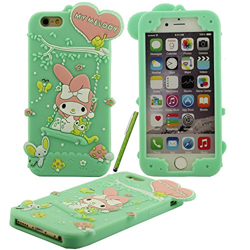 Klar modischen Design Cartoon Netter Swing My Melody Form Soft-Silikon-Schutzhülle case für Apple iPhone 6 plus / 6S plus Hülle 5.5 inch mit Touch-Screen-Stift blau