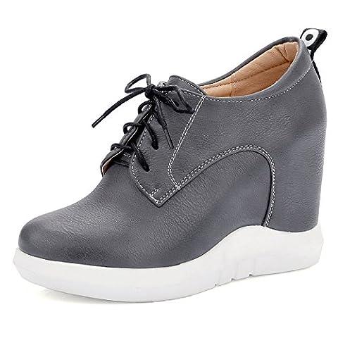 OALEEN- Chaussures Baskets Mode Femme à Lacets Low Boots Talon Compensées Plateforme Gris 37