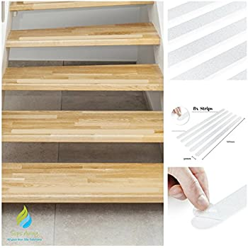 Non Slip Stair Clear Discreet Safety Grip Strips   Perfect For Stairs Step  Laminate Wooden Floor Hallway   Strong Textured Adhesive Sticker Tape Treads  ...