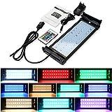 GreenSun LED Lighting LED Aquarium Beleuchtung mit IR Fernbedienung Aquariumlampen Lampe Aufsetzleuchte Abdeckung Klemmleuchte RGB Aquariumlicht Einstellbare auf 28-48cm für Fisch Tank