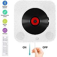 CD Player Bluetooth an der Wand montierbaren tragbaren CD-Musik-Player mit Fernbedienung für Kinder,FM-Radio Eingebauter HiFi-Lautsprecher, unterstützt USB/MP3/3,5 mm Kopfhörerbuchse/ (weiß)