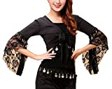 Adelina Bolero Donna Danza del Ventre Ballo Latino Costume Maniche Tromba Pizzo Ragazza Abbigliamento Fashionable Cucitura con Monete Top Stola Pancia Danza Costumi (Color : Nero, Size : L)
