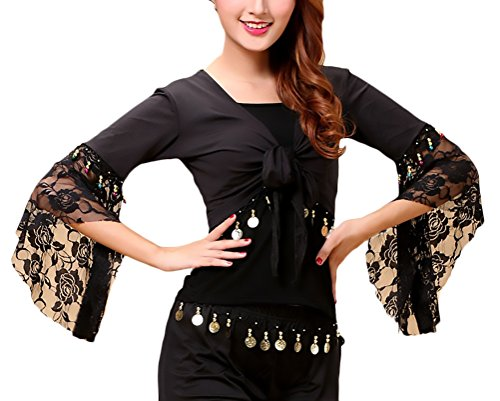 Bolero Donna Danza del Ventre Ballo Latino Costume Maniche Tromba Pizzo Ragazza Abbigliamento Fashionable Cucitura con Monete Top Stola Pancia Danza Costumi (Color : Nero, Size : 3XL)