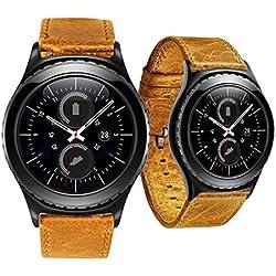 Reloj banda piel, happytop 20mm correa de reloj pulsera correa de muñeca correa de repuesto para Samsung Galaxy Gear S2 Classic, color marrón, Informal