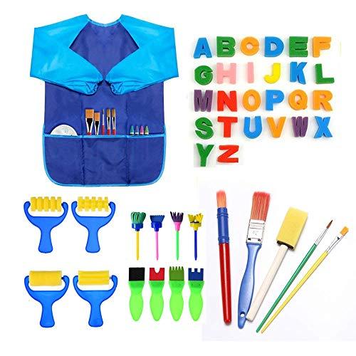 Jusoney kit di pittura per bambini, 44pcs early learning kids set di pittura tra cui spugnetta, pennello per fiori, set di pennelli, grembiule impermeabile a manica lunga e 26 lettere
