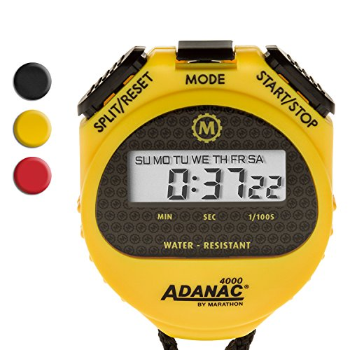 Marathon ST083009 Adanac 4000 Digital Stopwatch Timer with Extra Large Display and Buttons, Water Resistant, Two Year Warranty – Yellow