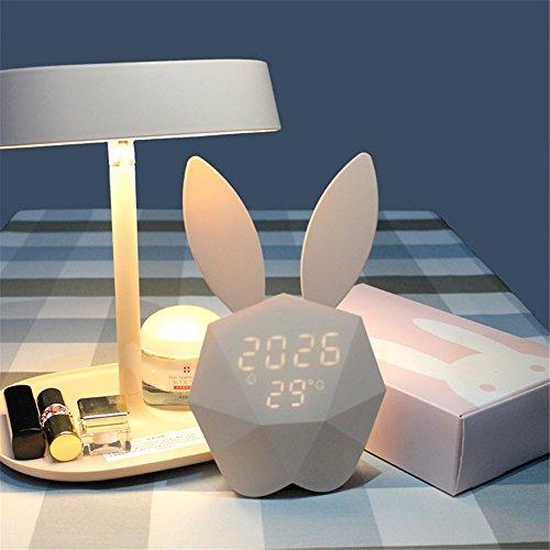 Nachtlicht, Digital Wecker mit niedlichen Kaninchen Thermometer wiederaufladbare Tisch Wanduhren Rosa