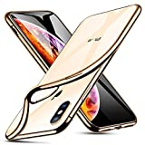 ESR Klare Silikon Hülle für iPhone XS Hülle, iPhone X Hülle, Dünne durchsichtige TPU Handyhülle mit Farbrahmen - Weiche transparente Schutzhülle [Kratzfest] für das iPhone XS/X 5.8 Zoll -Gold Rahmen