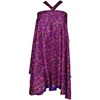 Mogul Interior Bohemian Magic Wrap Skirt Paisley Silk Sari Reversible Halter Dress,Beach Wear