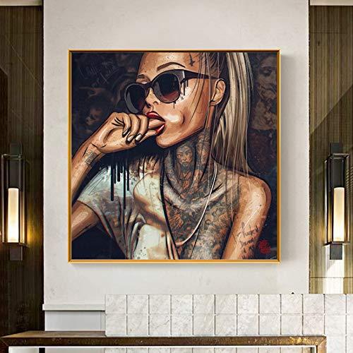 Pop Art Cool Girl Tattoo Bilder abstrakte moderne afrikanische Leinwand Malerei neue Graffiti Straße Frauen Porträt Wandkunst für Zimmer-in Malerei & Kalligraphie von Haus & Garten 60x60cm ohne Rahmen