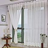 Kinlo 2 Stück 145 x 245cm 100% Polyester Blinkschutz Schlaufengardinen Gardinenschals Vorhängeschals Traumhaft Vorhänge Durchsichtig im Wohnzimmer Weiß