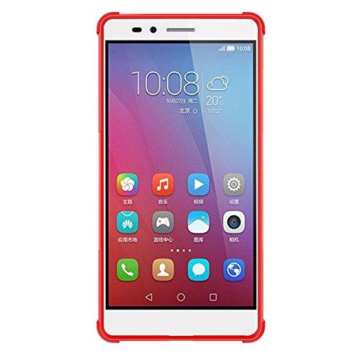 Huawei P9 Lite Hülle Case, GIM Rot Hybride Weiche Silikon TPU Ränder mit hartem PC Rückdeckel Schutzhülle Tasche Etui Cover für Huawei P9 Lite Smartphone mit Standfunktion Orange