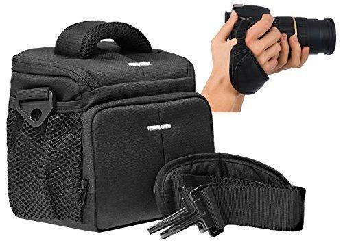 Foto Kamera Tasche ACTION BLACK M Set mit Handgriff für Sony Cybershot HX400 V HX60 HX90 RX10