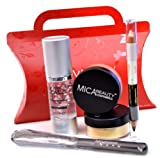 Mica Beauty 2x9 Gram Mineral Foundation (Mf5) Cappuccino +Perfecting Makeup Primer+eye Liner Duo Pencil+foundation Brush+red Gift Box Bundle of 5 Items by Micabella