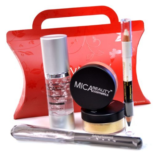 Mica Beauty 2x9 Gram Mineral Foundation (Mf5) Cappuccino +Perfecting Makeup Primer+eye Liner Duo Pencil+foundation Brush+red Gift Box Bundle of 5 Items by Micabella (Eyeliner Duo Pencil)