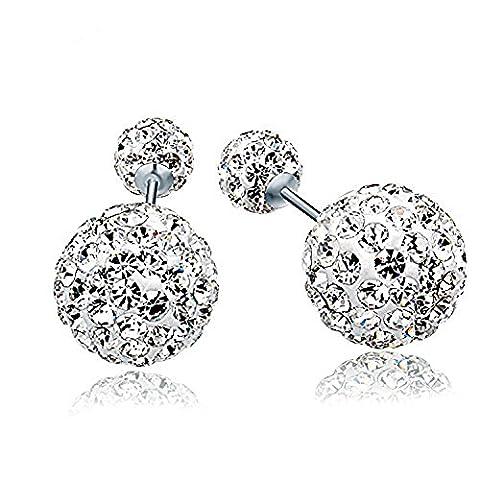 truecharms S925 Sterling Silver Austrian Crystal Rhinestone Stud Earring Set Double Beads Earrings Gift For Womens (14mm+10mm)