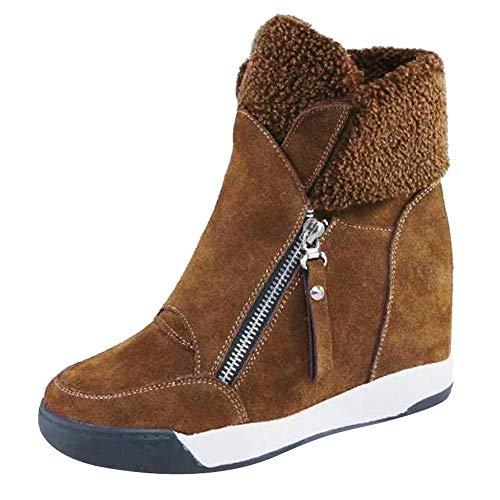MYMYG Frauen Stiefeletten Wedges Plüsch Muffin Schuhe Sneakers -