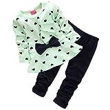Oyedens Babysätze herzförmigen Druckbogen Shirt mit Hose (12-24M, GrüN)