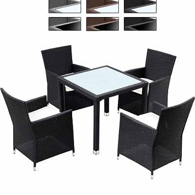 Miadomodo Hochwertige 9-teilige Polyrattan Sitzgarnitur Terasse Gartenmöbel Farb- Tischwahl mit Kissen