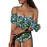 XuxMim Damen Schulterfrei Gepolsterter Push-Up-BH Hohe Taille Bikini Set Badeanzug Bademode(Dunkelgrau,Large