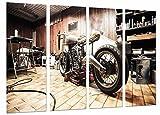 Quadro Su Legno, Moto d'epoca, Moto Harley Davidson, 131 x 62cm, Stampa in qualita fotografica. Ref. 26653