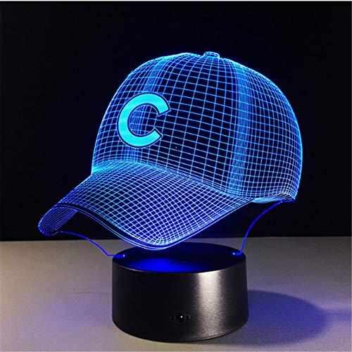 Chicago Cubs Fußball Hut Led Nachtlicht Touch 7 Farben Ändern 3D Schreibtischlampe Usb Touch Tischlampen Schlafzimmer Dekoration Geschenk