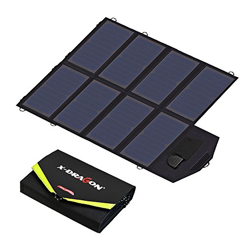 X-DRAGON Solar Ladegerät 40W SunPower Faltbar Solar Panel 12V Outdoor Ladegerät (5V USB + 18V DC) für Laptop, Tablet, iPhone, iPad, Samsung, Android Smartphones