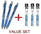 Pentel Energel DeLuxe-RTX einziehbarer flüssiger Gelkugelschreiber - 0.5mm, Feine Linie / Nadel Spitze-/ Blaue Tinte, Blaue Körperart - 3Pens & 3Pens Nachfüllungen schätzen Satz, mit unserem Geschäft Originale Produktbeschreibung)