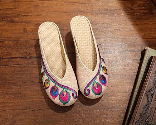 DESY scarpe ricamate, unico tendine, stile etnico, femmina flip-flop, moda, comodi, aumento sandali beige