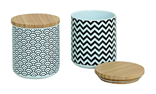 Vorratsdosen 2er Set aus Keramik mit Deckel aus Bambus weiß/schwarz RETRO Retro Keramik