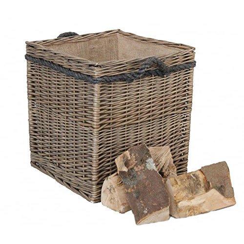 Weidenkorb in Antik-Optik, quadratisch, gefüttert, für Wäsche, Holz -