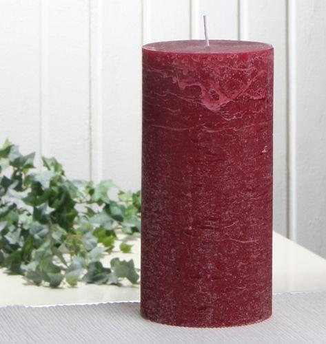 Rustik-Stumpenkerze, 20 x 10 cm Ø, rubinrot-bordeaux