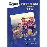 AVERY - 80 feuilles de papier photo 180g/m² brillant, Format 10 x 15 cm, Impression jet d'encre,
