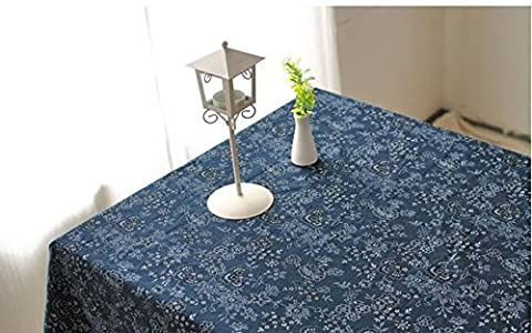 Beddingleer Navy Blue Cotton & Linen DIY Pattern Style Rectangular Tablecloth Elegance to any Accasion or Special Event, Perfect Photography Props, 140CM X 220CM