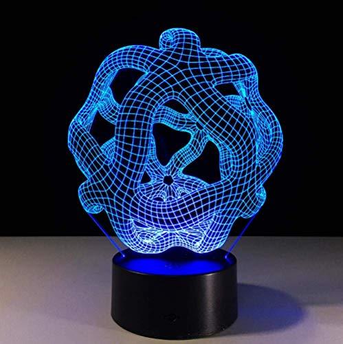 Geométrica 7 Colores Que Cambian La Luz Lámpara De Mesa De La Luz De La Noche De La Luz Led 3D Visual Como Decoración Casera Lámpara De Noche Para El Regalo Del Niño