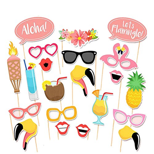 n Hawaii Luau Sommerfest Hochzeit Geburtstag Party Foto Booth Requisiten Kit Fotorequisiten Fotoaccessoires 21pcs ()