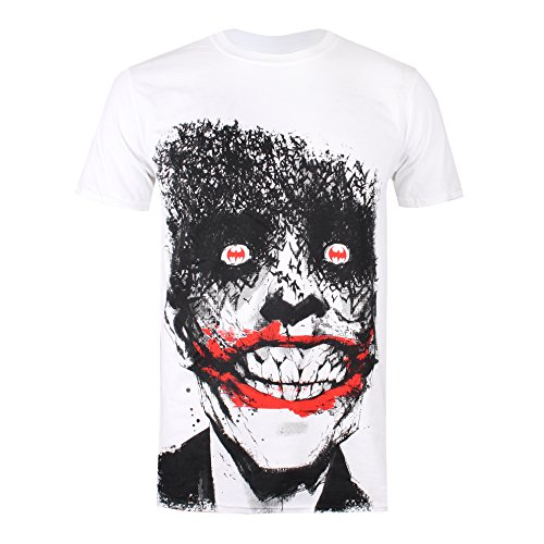 DC Comics Joker Eyes, Camiseta para Hombre, Blanco (White Wht), Large