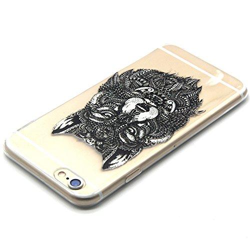 iPhone 6 plus Silikonhülle - Felfy Ultra Dünnen Weiche Gel Druck Liebe grün und rosa Anker Muster TPU Back Case Cover Tasche Etui für Apple iPhone 6 plus 5.5 Zoll + 1x Black Stylus + 1x Displayschutz Tier Wolf