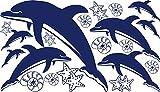 GRAZDesign 770063_57_049 Wandtattoo Delfine mit Muscheln und Seesterne | Wand-Aufkleber im Set 8 Delfine und 12 Muscheln in Versch. Größen (100x57cm // 049 königsblau)