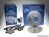 ATE BREMSENSET HINTEN, 2x Bremsscheiben Voll + 4 Bremsbeläge, inklusive Montagehandschuhe - Bremsensatz, Scheibenbremse Bremsen Set, Bremskit, Bremsenkit