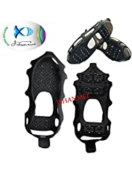 jshanmei® antideslizante pie Stabilicers hielo tacos de tracción para nieve y hielo escalada Shoe Spikes Grips Crampones Tacos de agarre de Spikers Overshoes Invierno Escalada no antideslizante zapatos Cover Kits de viaje, color 24-Stud Ice Grip(Large), tamaño Azul