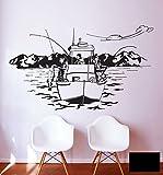 Wandtattoo Wandaufkleber Angler Angelboot Norwegen See Küste Boot M1454 - ausgewählte Farbe: *Schwarz* ausgewählte Größe:*XL 120cm breit x 71cm hoch